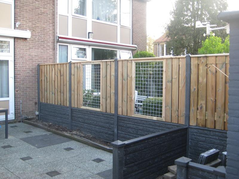 Design schutting hout beton donau motief grijs